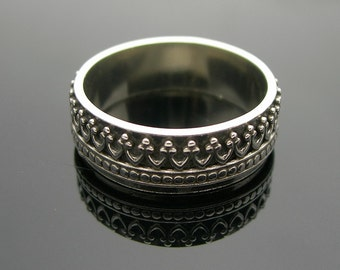 Mens Silver Band, Crown Ring, Mens Sterling Silver Ring, Wedding Rings