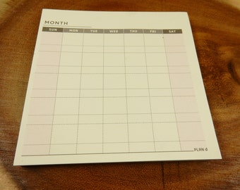 Mini Monthly Planner, Square Notepad, Desk Planner, Notepad Organiser, Desktop Planner, Monthly Calendar