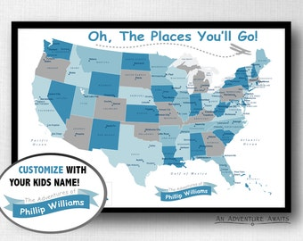 Children's USA Travel Map (Print Only), Oh The Places You'll Go, Push Pin Map, Travel Board, Nursery Map, Kids Room Decor - #USA-006