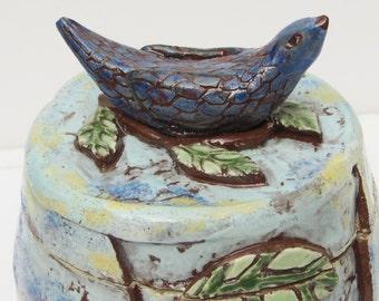 ceramic bird jar; ceramics and pottery; ceramic art