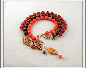 Assorted Semiprecious Hamsa Bracelet - Symbolic Protection