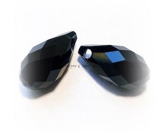 Swarovski Crystal Beads 2pcs 6010 JET BLACK Briolette Faceted Pendant - Sizes 11mm & 13mm available