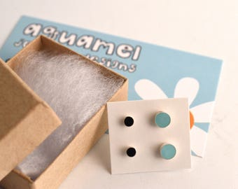 Enamel dot stud earrings -set of 2 - post color dot earrings - coin color stud - disc color post earrings -