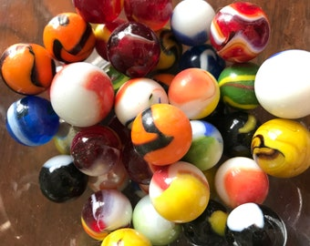 43 Vintage Hand-Blown Glass Marbles