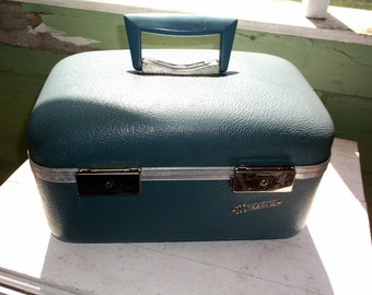 Vintage Blue Monarch Traincase Train Case Suitcase Luggage  Clean