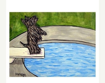 25% off Scottish Terrier at the Pool Dog Art Print