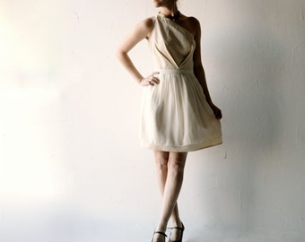 SAMPLE SALE Wedding dress, Short wedding dress, Simple wedding dress, One shoulder wedding dress, boho wedding dress, Alternative dress