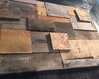 Reclaimed pallet wood collage art