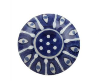 Flat Blue and White Embossed Ceramic Cabinet Knob