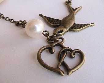 Antique Brass Swallow Heart and Pearl Necklace, Bridal, Bridesmaids, Wedding, Unique