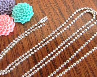 5 PETITE Silver Shiny Plated Ball Chains 24 inches Necklaces 1.5mm