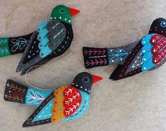 Twelve Days of Christmas Colly Bird Felt Ornament