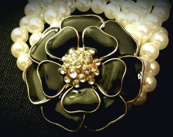 After Life Accessories Repurposed Black Flower Rhinestone & Pearls Stretch Bracelet