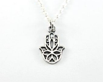 Sterling Silver Hamsa Necklace, Feminine Dainty Silver Necklace, Flower Hamsa Necklace, Sterling Silver Necklace, Silver Hamsa Hand Necklace