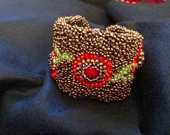 """flower garland"" flexible Cuff Bracelet"