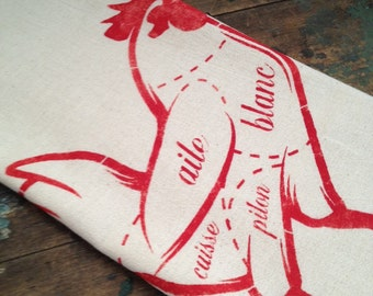 French Butcher Print Rooster Dish Towels
