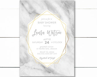 Geometric baby shower invitation, marble gold foil baby shower invitation, marble geometric invitation, gold, white, marble
