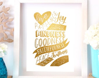 Fruits of The Spirit - Galatians 5 - Gold Foil print - kindness quote - inspirational art print - rainbow - silver - bible verse printable
