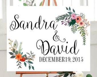 Custom Wedding Sign,  Printable, Country Wedding, Wedding Printables,  Floral sign, Wedding Signage