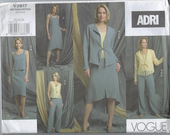 Vintage Vogue Sewing Pattern V2817 Adri Misses Petite Jacket Top Dress Skirt Pants  Size 12 14 16 Uncut Factory Folded