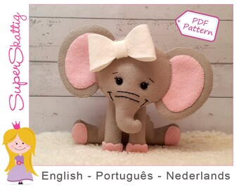 Felt Pattern Olivia the Elephant, softie pattern animal, plush pattern, pdf sewing pattern by Superskattig