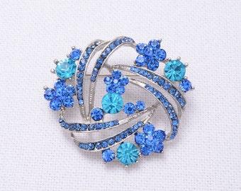 Aqua Blue Brooch, Crystal Blue Brooches, Blue Bridal Brooches, Bridal Dress Sash Cake Decor Brooch, Blue Brooches For Bouquet, Blue Brooches