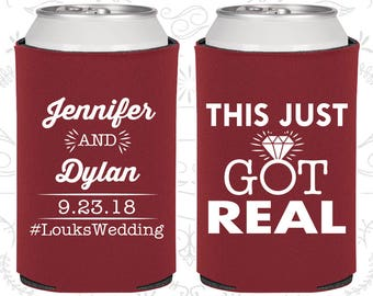 This Just Got Real, Wedding Gift Ideas, Fun Wedding Gift, Gift and Mementos, Funny Wedding Gift, Wedding Can Coolers (484)