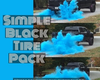 ORIGINAL BURNOUT Gender Reveal Simple Black Tire Pack Now 50% Larger for Peel Outs, Burnouts, or easy Drive Gender Reveals! 8 Color Options!