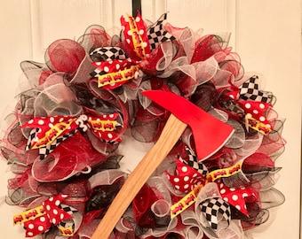 XL Premium Firefighter Wreath, fireman, firefighter, firefighter gift for him, firefighter wife, firefighter decor, firefighter girlfriend,