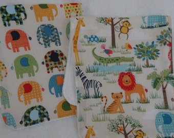 Burp Cloths, Burp Cloth Set, Terry Burp Cloths, Baby Gift, Safari Burp Cloths, Elephant Burp Cloth, Safari Nursery, Burp Rag Set