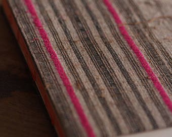 Handmade lined journal-notebook with Hmong hill-tribe fabric cover A6 size in brown with pink stripes (NB0007)