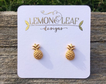 Gold, Rose gold or Silver  vermeil pineapple studs, pineapple earring, pineapple jewelry