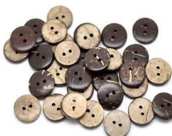 20 x Brown coconut shell buttons 11mm