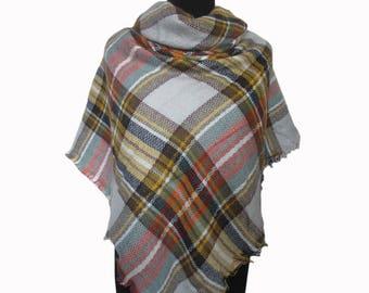 Mint Blanket Scarf, Yellow Tartan Scarf, Christmas Gifts for Mom, Plaid Scarf, Checkered Shawl, Autumn Scarf, Wrap Shawl, Plaid Fall Scarf