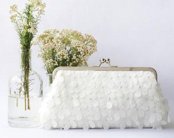 Ivory Chiffon Floral Clutch for Bride, Bridesmaid, Mothers | HYDRANGEAS