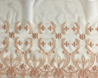 """LT PEACH, 7.5"""" Wide, Embroidered Lace Trim, BTY By The Yard"""