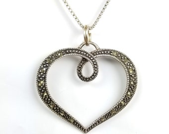 "Vintage 925 Sterling Silver Marcasite Heart 24"" Necklace"