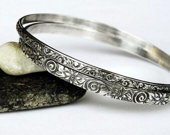 Sterling Silver Bangles Set of Two - Silver Bangle Set - Solid Sterling Bangles - Floral Bracelet Set - Stacking Bangles