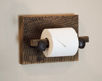 Barn Wood Toilet Paper Holder, rustic toilet paper hanger with railroad spikes