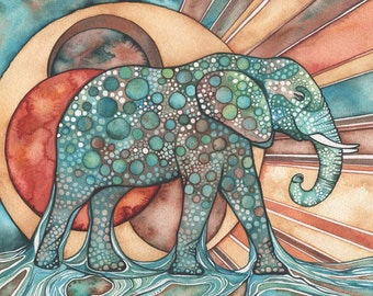 Sun Elephant 5 x 7 print of detailed watercolour artwork in rich surreal & psychedelic rust orange red turquoise blue green earth tones