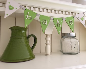 Wooden 'bake' bunting flags