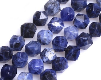 Blue Sodalite Beads, Natural Gemstone Beads, Nugget Faceted Beads, Semi Precious Beads For Jewelry Making 8mm 10mm 12mm