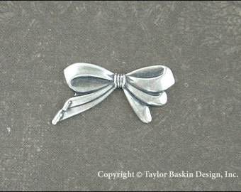 Antiqued Sterling Silver Plated Bow Charm (item 206 AS) - 6 Pieces