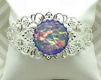 Blue Fire Opal Bracelet - Bridesmaid Gift - Opal Jewelry - Cuff Bracelet - Fire Opal Cuff Bracelet - Fire Opal Jewelry - Blue - Bracelet -