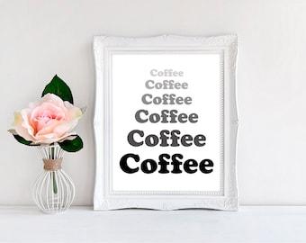 "Coffee Coffee Coffee Coffee Print - Wall Decor - Illustration - 8""x10"" ~ Wall Print"