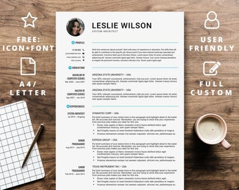 Simple resume template free icons | Minimalist easy best basic beautiful 1 2 one two page | A4 Us Letter | Teacher Nurse Doctor Engineer
