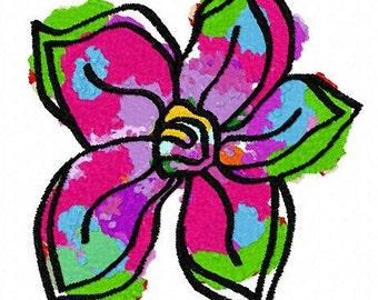 Rainbow Flower Machine Embroidery Design...3066