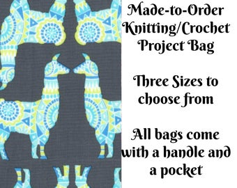 Llama Rama in Stream, Knitting Project Bag, Large Project Bag, Drawstring, Zippered, Sock Sack, Yarn Tote, Sock Project