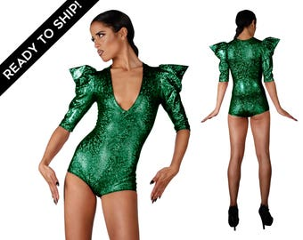 Signature Bodysuit in Holographic Green, Poison Ivy Costume, Sexy, Playsuit, Futuristic Clothing, Cyberpunk, Ravewear,Festival,by LENA QUIST