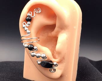 Pair of Black And Sterling Silver Ear Cuff Earrings featuring Hematite Beads, no pierced ears needed